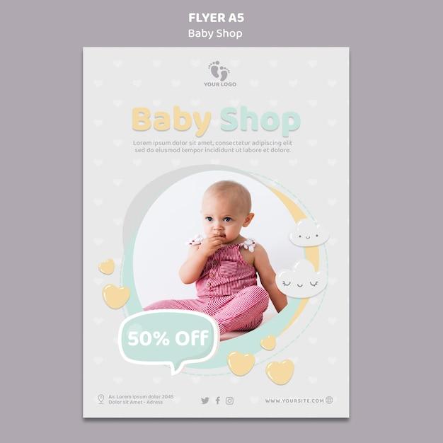 Modelo de folheto de loja de bebês Psd grátis