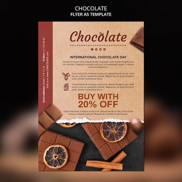 Modelo de folheto de loja de chocolates Psd grátis