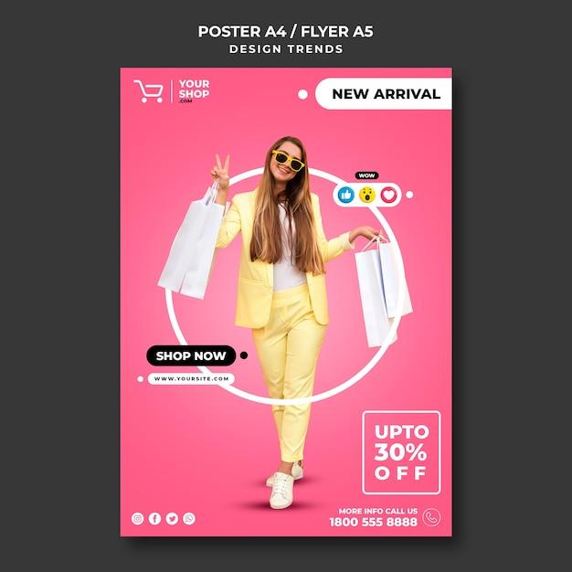 Modelo de folheto de mulher comprando Psd grátis