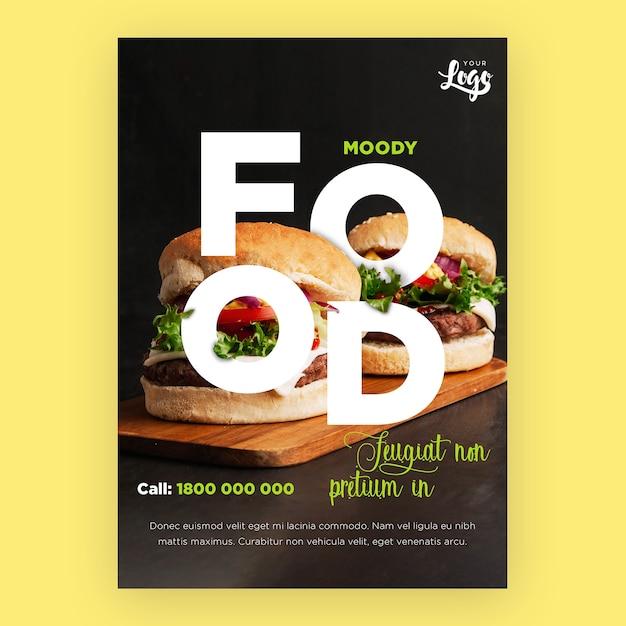 Modelo de folheto de restaurante com hambúrgueres Psd grátis