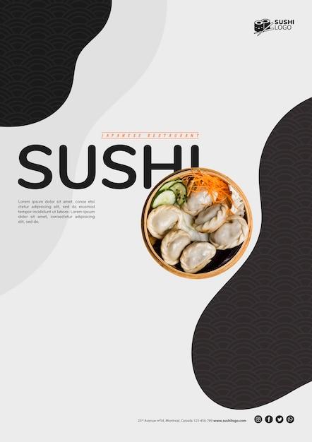 Modelo de folheto de restaurante de sushi asiático Psd grátis