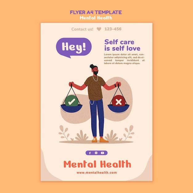 Modelo de folheto de saúde mental Psd grátis