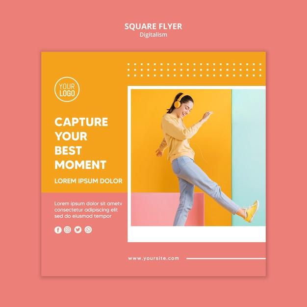 Modelo de folheto digitalismo colorido com foto Psd grátis