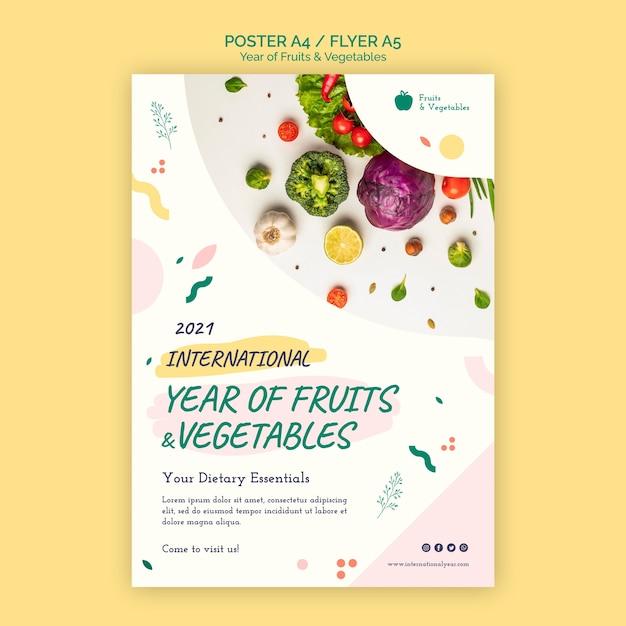 Modelo de folheto do ano de frutas e vegetais Psd grátis