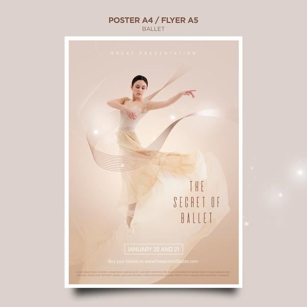 Modelo de folheto do conceito de bailarina Psd grátis