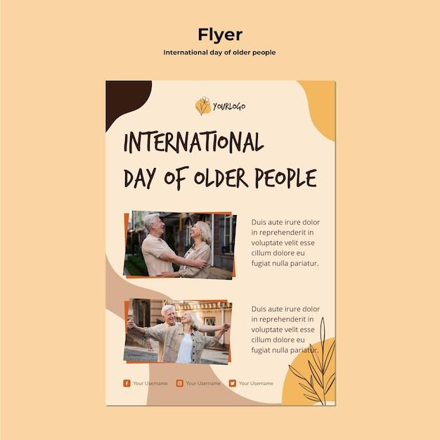 Modelo de folheto do dia internacional dos idosos Psd grátis