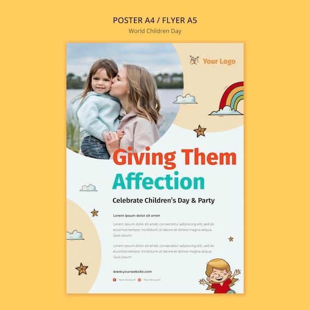 Modelo de folheto do dia mundial da criança Psd grátis