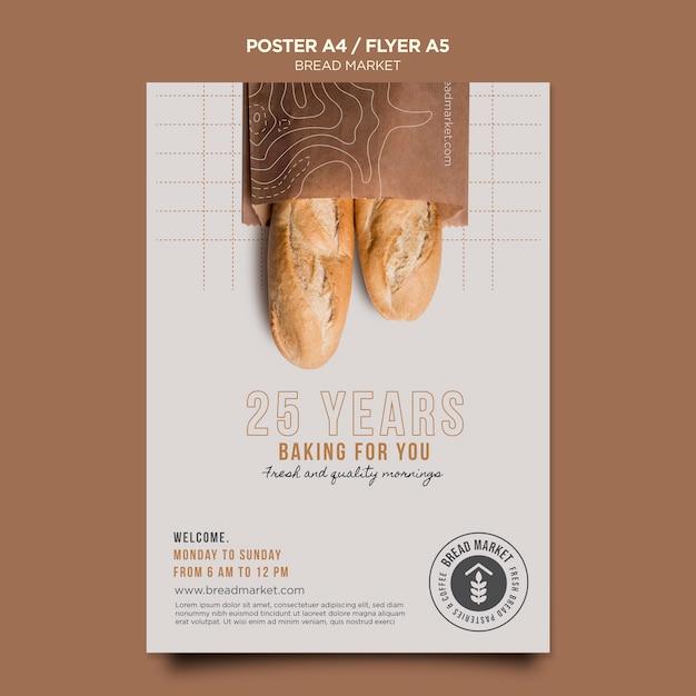 Modelo de folheto do mercado de pães Psd Premium