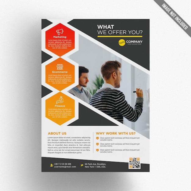Modelo de folheto empresarial colorido Psd Premium