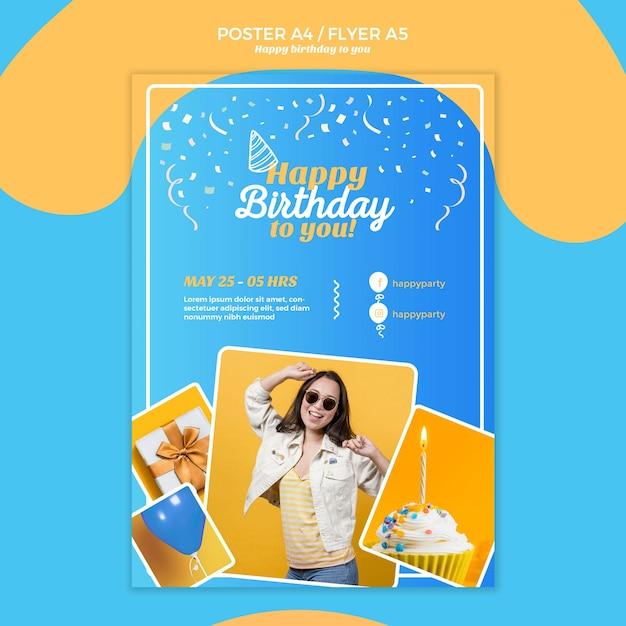 Modelo de folheto - feliz aniversário Psd grátis