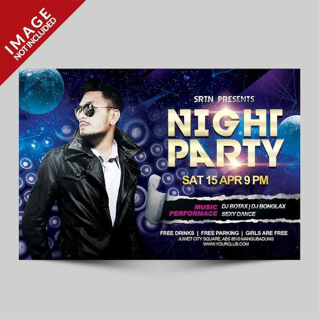 Modelo de folheto - festa noturna horisontal Psd Premium