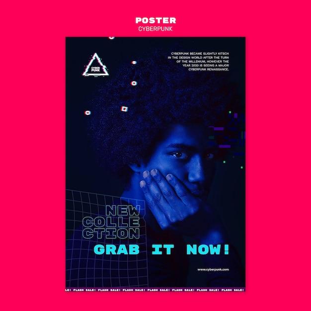 Modelo de folheto futurista cyberpunk com foto Psd grátis