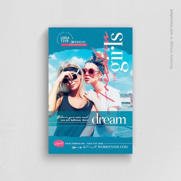 Modelo de folheto - liberdade para meninas Psd Premium