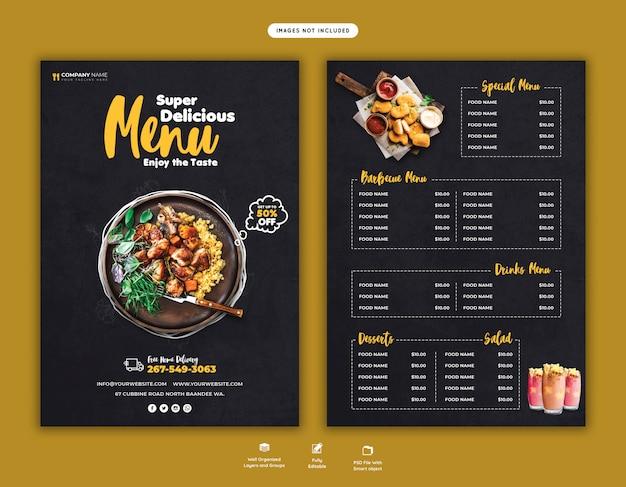 Modelo de folheto - menu de comida e restaurante Psd Premium