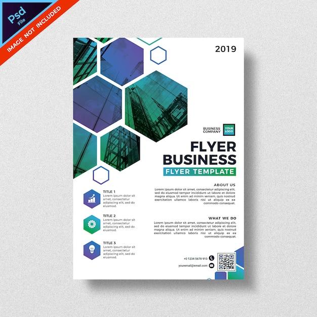Modelo de folheto - negócios de design abstrato de geometria moderna Psd Premium