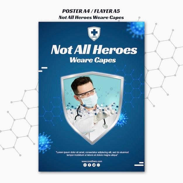 Modelo de folheto - nem todos os heróis usam capas Psd grátis