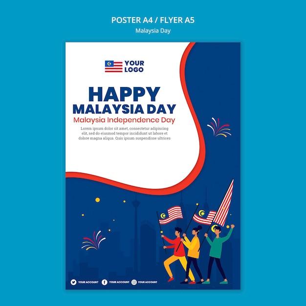 Modelo de folheto para a celebração do aniversário do dia da malásia Psd grátis