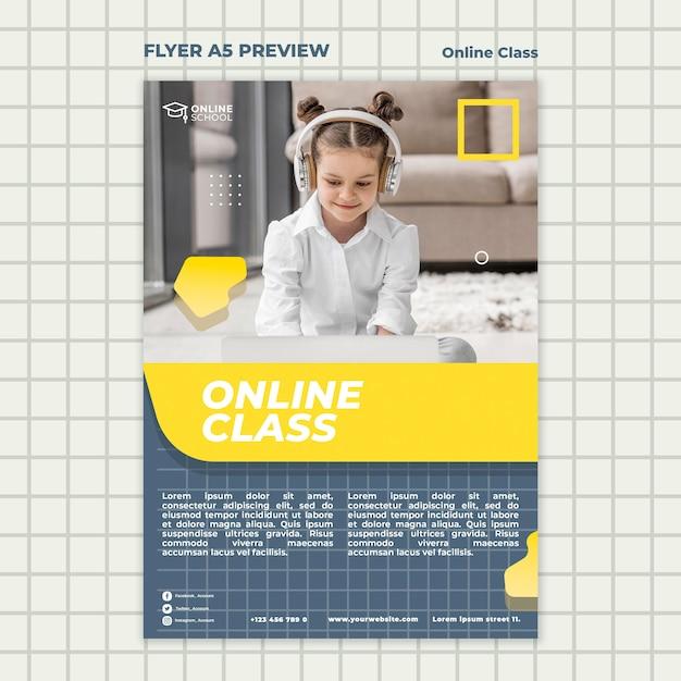 Modelo de folheto para aulas online com crianças Psd grátis