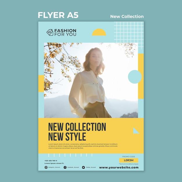 Modelo de folheto para coleção de moda com mulher na natureza Psd grátis