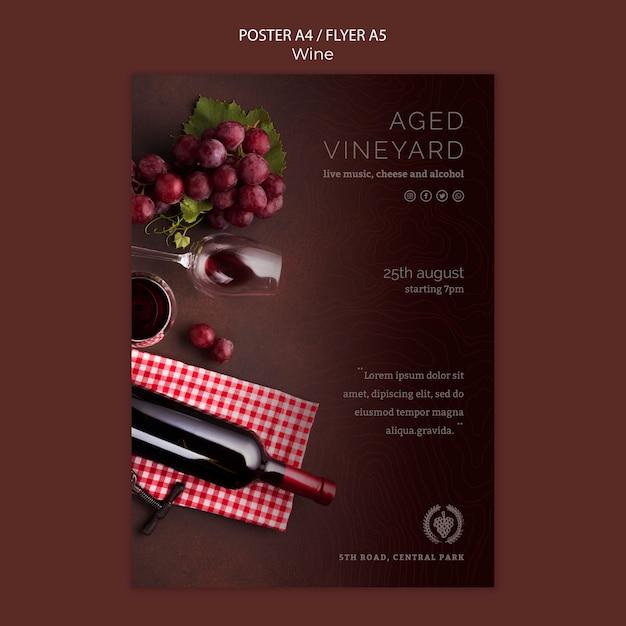 Modelo de folheto para degustação de vinhos Psd grátis