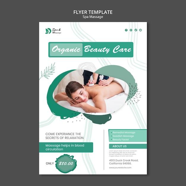 Modelo de folheto para massagem em spa com mulher Psd grátis