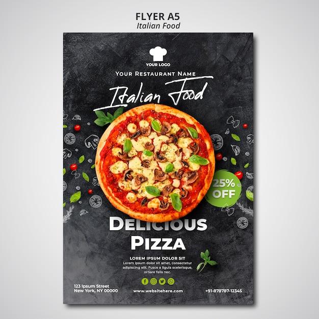 Modelo de folheto para restaurante de comida italiana tradicional Psd Premium