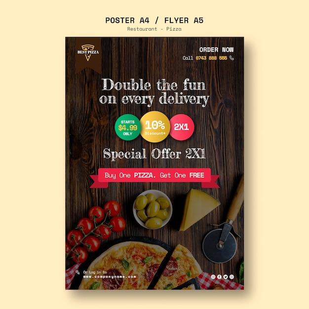 Modelo de folheto para restaurante de pizza Psd grátis