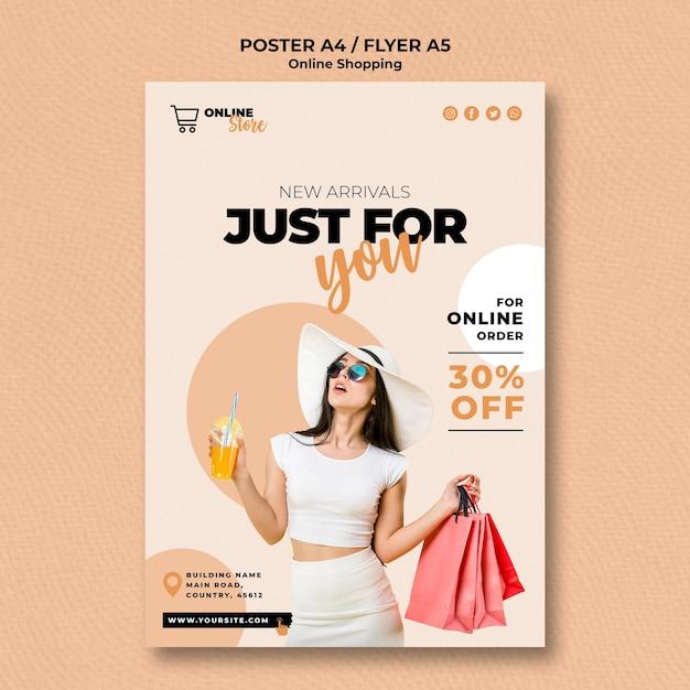 Modelo de folheto para venda de moda online Psd grátis