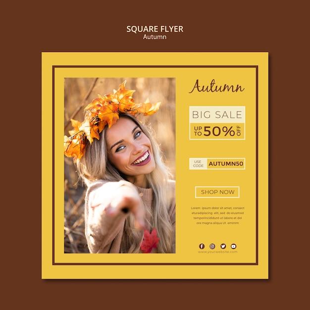 Modelo de folheto para vendas de outono e descontos Psd grátis