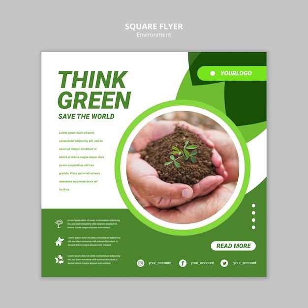 Modelo de folheto - pense em quadrado verde Psd grátis