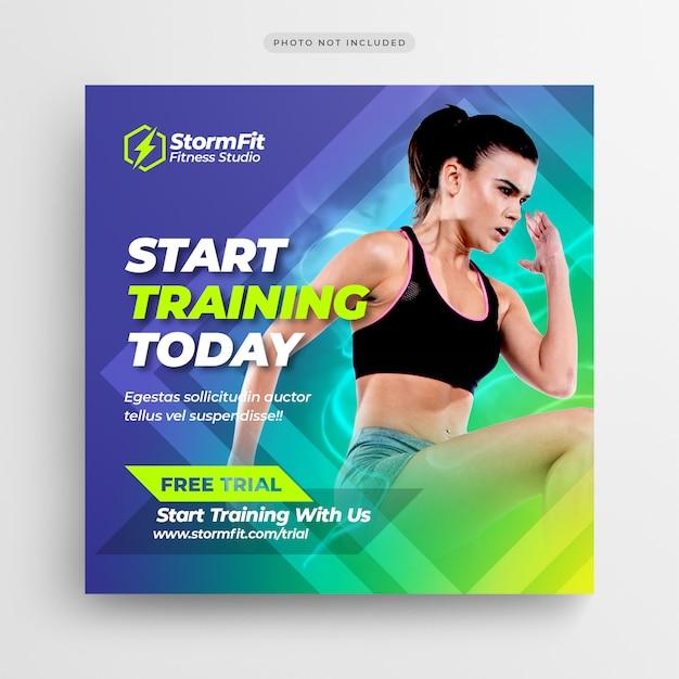 Modelo de folheto - post de mídia social de ginásio de fitness ou quadrado Psd Premium