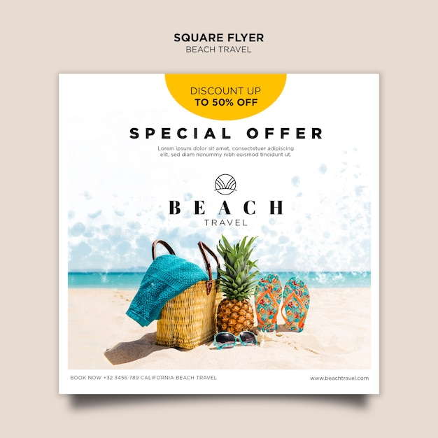 Modelo de folheto quadrado - abacaxis e flip-flops Psd Premium