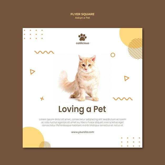 Modelo de folheto quadrado - adoção de animais Psd grátis