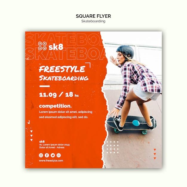Modelo de folheto quadrado conceito de skate Psd Premium