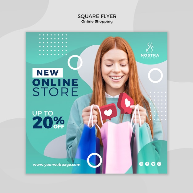 Modelo de folheto quadrado de conceito de compras online Psd grátis