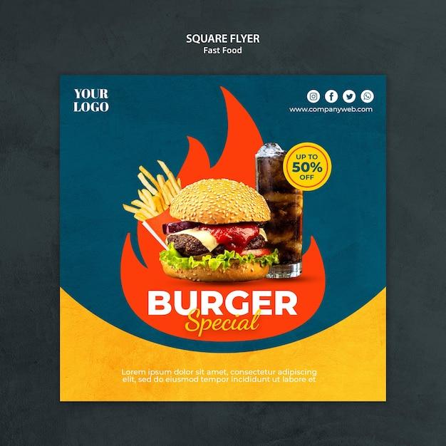 Modelo de folheto quadrado de fast food Psd grátis