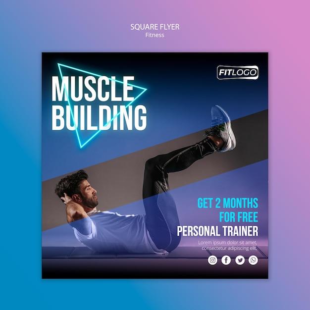 Modelo de folheto quadrado de instrutor de fitness Psd grátis
