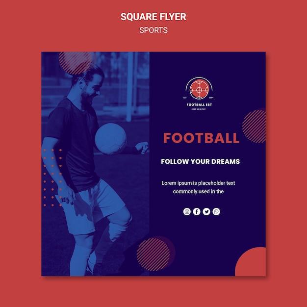 Modelo de folheto quadrado de jogador de futebol com foto Psd grátis