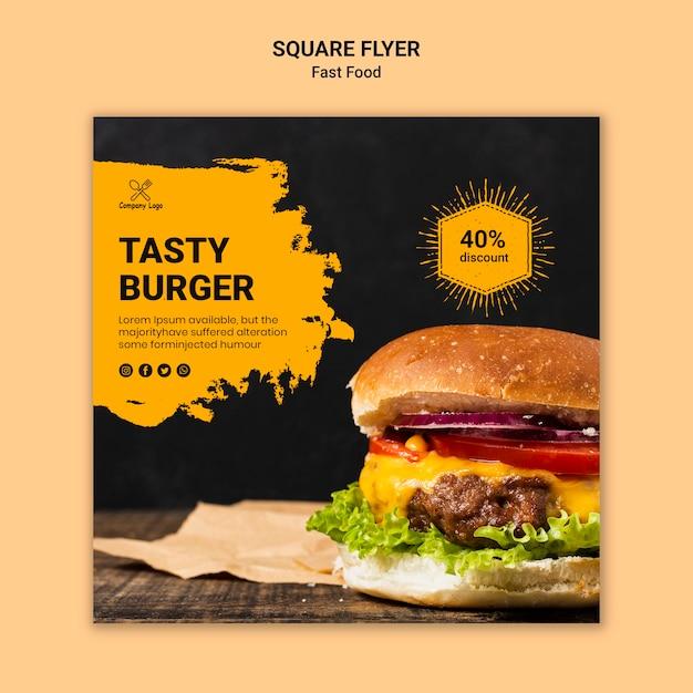 Modelo de folheto quadrado fast-food Psd grátis