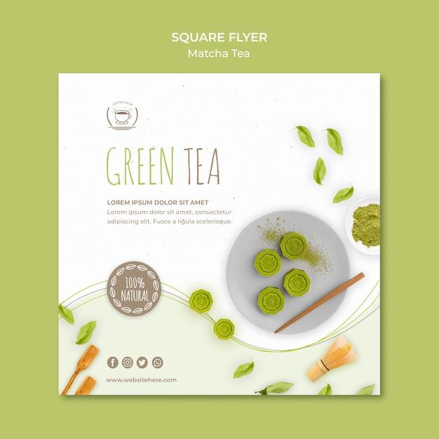 Modelo de folheto quadrado minimalista chá verde Psd grátis