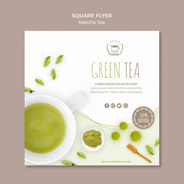 Modelo de folheto quadrado minimalista de chá verde Psd grátis