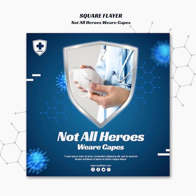 Modelo de folheto quadrado nem todos os heróis usam capas Psd Premium