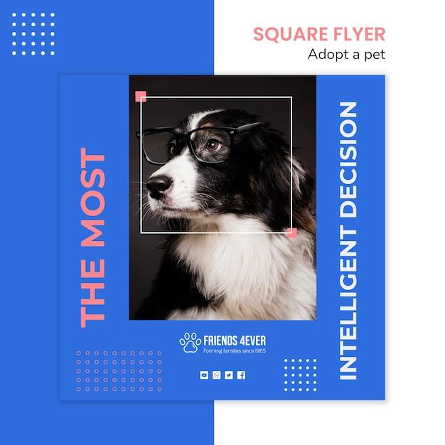 Modelo de folheto quadrado para adotar um animal de estimação com cachorro Psd grátis