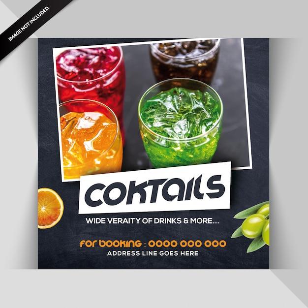 Modelo de folheto quadrado para bar de cocktails Psd Premium