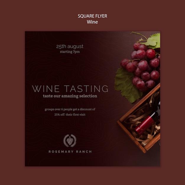 Modelo de folheto quadrado para degustação de vinhos com uvas Psd grátis