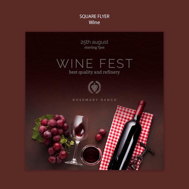 Modelo de folheto quadrado para degustação de vinhos Psd grátis