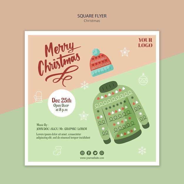 Modelo de folheto quadrado para natal com suéter Psd Premium
