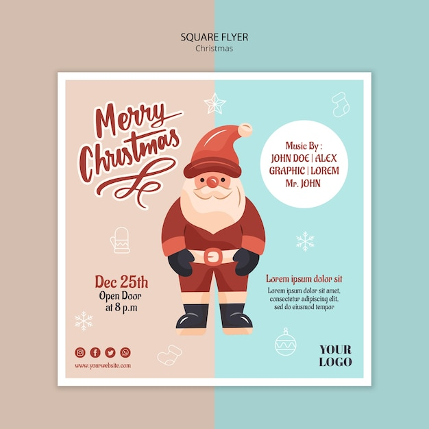 Modelo de folheto quadrado para o natal com o papai noel Psd Premium