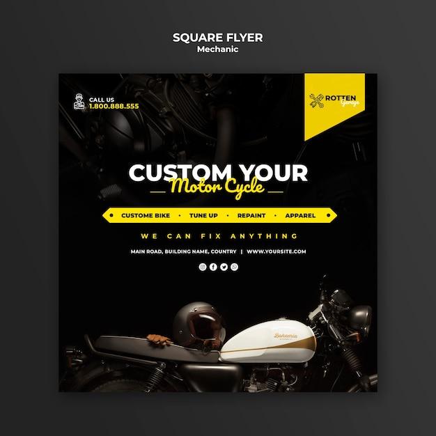 Modelo de folheto quadrado para oficina de moto Psd grátis
