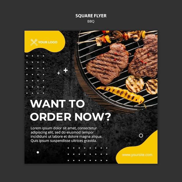Modelo de folheto quadrado para restaurante de churrasco Psd grátis